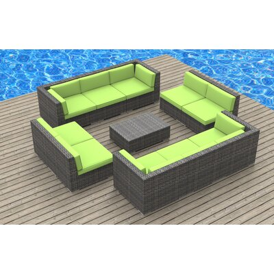 11 Piece Deep Seating Group with Cushion Fabric: Lime Green, Frame Finish: Ash Gray