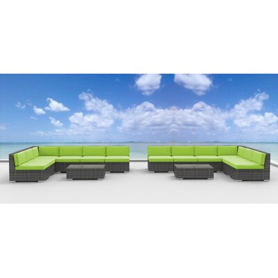 Venice 14 Piece Deep Seating Group with Cushion Fabric: Lime Green