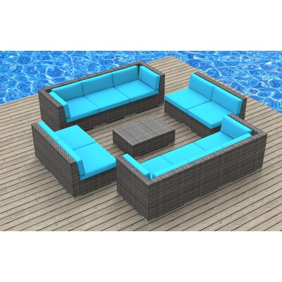 11 Piece Sectional Set With Cushions Fabric: Sea Blue, Frame Color: Ash Gray