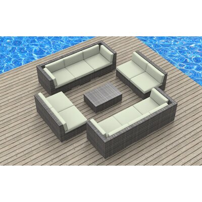 11 Piece Deep Seating Group with Cushion Fabric: Beige, Frame Finish: Ash Gray