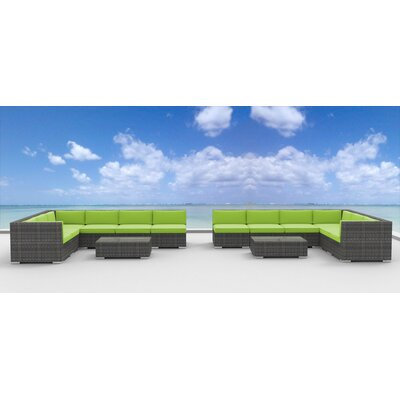 La Jolla 14 Piece Deep Seating Group with Cushion Fabric: Lime Green