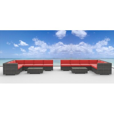 La Jolla 14 Piece Deep Seating Group with Cushion Fabric: Coral Red