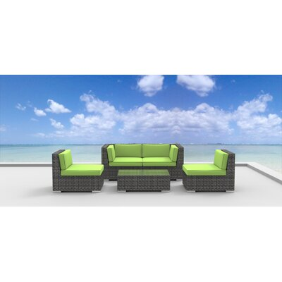 Rio 5 Piece Deep Seating Group with Cushion Fabric: Lime Green