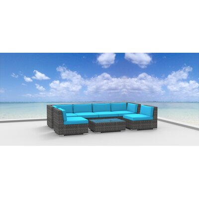 Mason 7 Piece Deep Seating Group with Cushions Fabric: Sea Blue