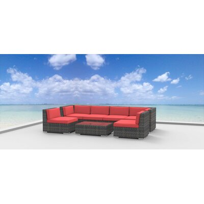 Mason 7 Piece Deep Seating Group with Cushions Fabric: Coral Red