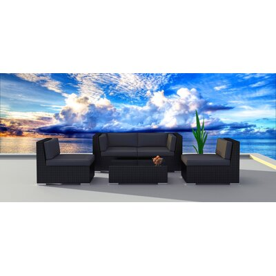 5 Piece Deep Seating Group with Cushion Frame Finish: Black, Fabric: Charcoal
