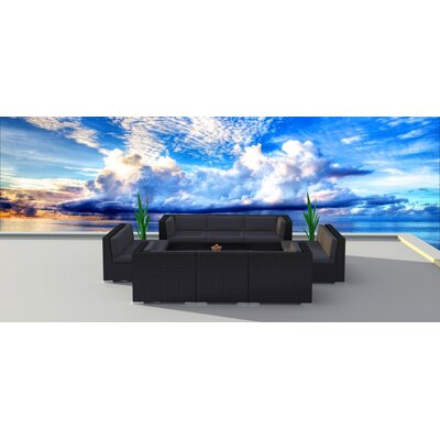 11 Piece Sectional Set With Cushions Fabric: Charcoal, Frame Color: Black