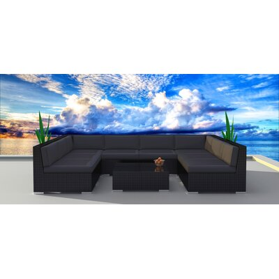 9 Piece Deep Seating Group with Cushion Frame Finish: Black, Fabric: Charcoal