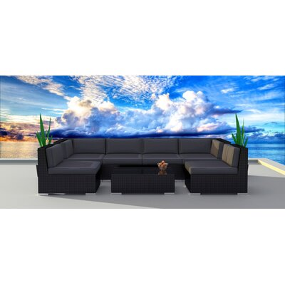 7 Piece Deep Seating Group with Cushion Frame Finish: Black, Fabric: Charcoal