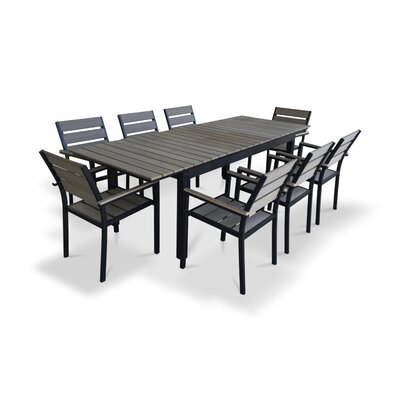 9 Piece Extendable Outdoor Dining Set Finish: Gray