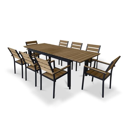 9 Piece Extendable Outdoor Dining Set Finish: Brown