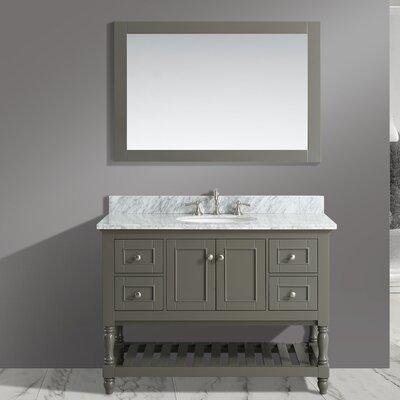 Mccombs 48 Single Bathroom Vanity Set with Mirror Base Finish: Distressed Gray