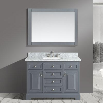 Rochelle 48 Bathroom Sink Vanity Set with Mirror Base Finish: Charcoal