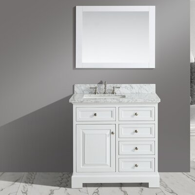 Cathey 36 Single Bathroom Vanity Set with Mirror Base Finish: White