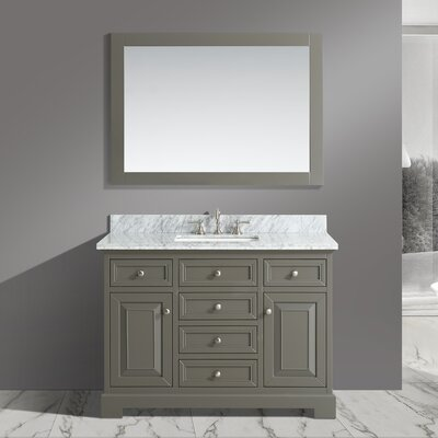 Cathey 48 Single Bathroom Vanity Set with Mirror Base Finish: Distressed Gray