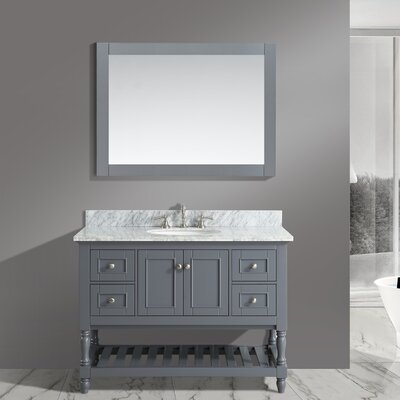 Mccombs 48 Single Bathroom Vanity Set with Mirror Base Finish: Charcoal