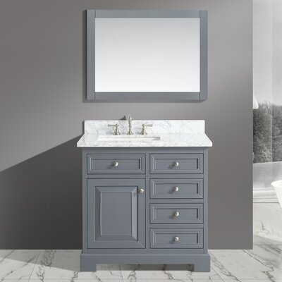 Cathey 36 Single Bathroom Vanity Set with Mirror Base Finish: Charcoal
