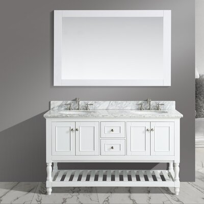 Silvia 60 Bathroom Sink Vanity Set with Mirror Base Finish: White