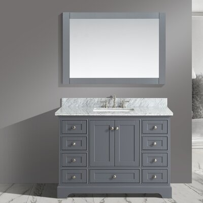 Castellanos 48 Single Bathroom Vanity Set with Mirror Base Finish: Charcoal