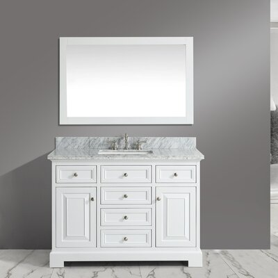 Rochelle 48 Bathroom Sink Vanity Set with Mirror Base Finish: White