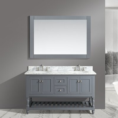 Silvia 60 Bathroom Sink Vanity Set with Mirror Base Finish: Charcoal