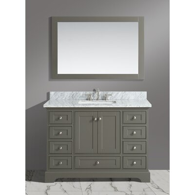 Castellanos 48 Single Bathroom Vanity Set with Mirror Base Finish: Distressed Gray