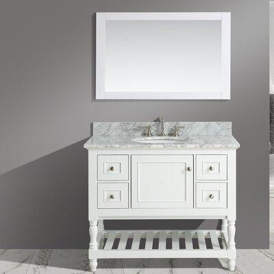 Mccombs 42 Single Bathroom Vanity Set with Mirror Base Finish: White