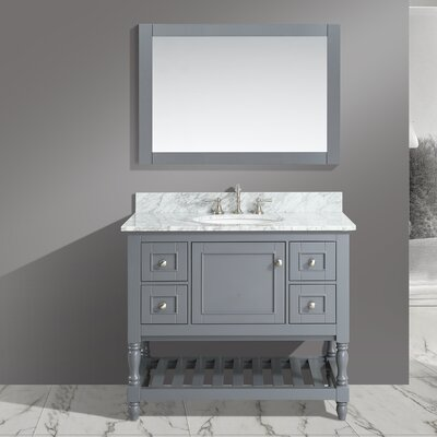 Mccombs 42 Single Bathroom Vanity Set with Mirror Base Finish: Charcoal