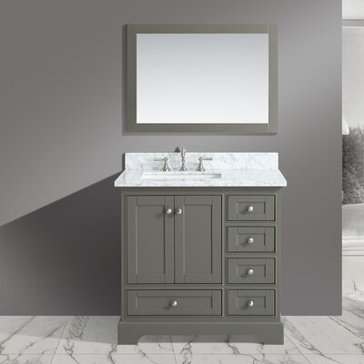 Castellanos 36 Single Bathroom Vanity Set with Mirror Base Finish: Distressed Gray