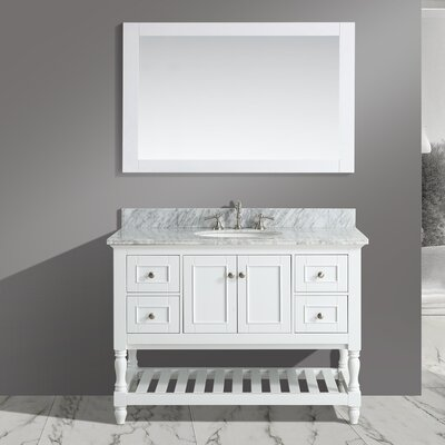 Mccombs 48 Single Bathroom Vanity Set with Mirror Base Finish: White