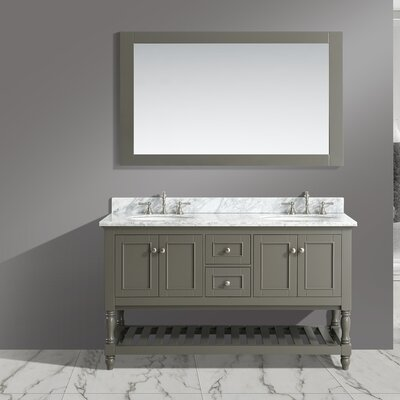 Mccombs 60 Double Bathroom Vanity Set with Mirror Base Finish: Distressed Gray
