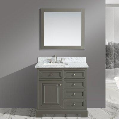 Cathey 36 Single Bathroom Vanity Set with Mirror Base Finish: Distressed Gray