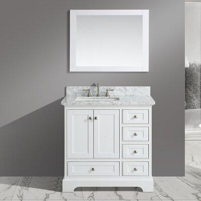 Jocelyn 36 Bathroom Sink Vanity Set with Mirror Base Finish: White