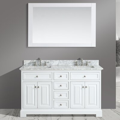 Rochelle 60 Double Bathroom Sink Vanity Set with Mirror Base Finish: White