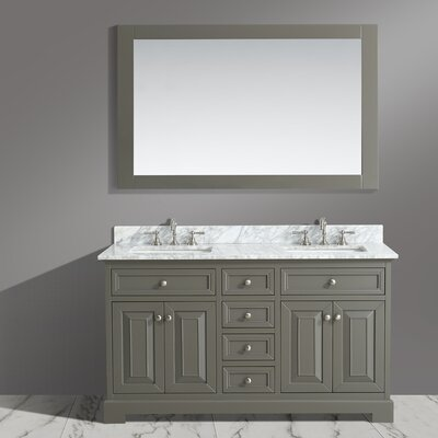 Cathey 60 Double Bathroom Vanity Set with Mirror Base Finish: Distressed Gray