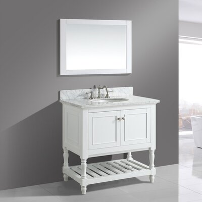 Silvia 36 Bathroom Sink Vanity Set with Mirror Base Finish: White
