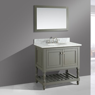 Mccombs 36 Single Bathroom Vanity Set with Mirror Base Finish: Distressed Gray