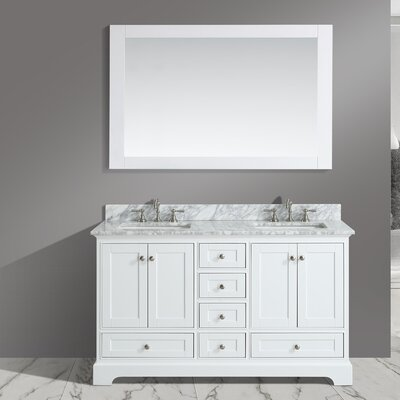 Jocelyn 60 Bathroom Sink Vanity Set with Mirror Base Finish: White
