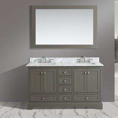 Castellanos 60 Double Bathroom Vanity Set with Mirror Base Finish: Distressed Gray