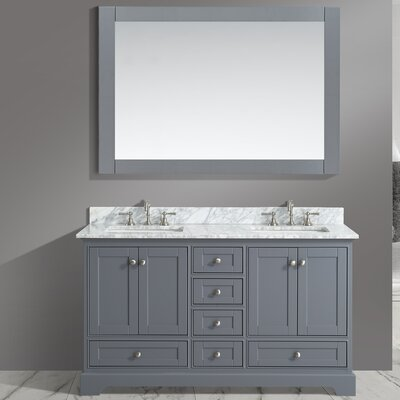 Jocelyn 60 Bathroom Sink Vanity Set with Mirror Base Finish: Charcoal