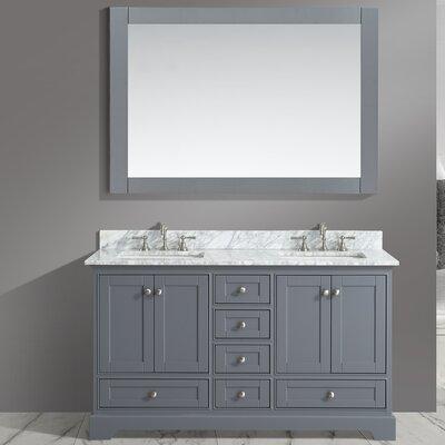 Castellanos 60 Double Bathroom Vanity Set with Mirror Base Finish: Charcoal