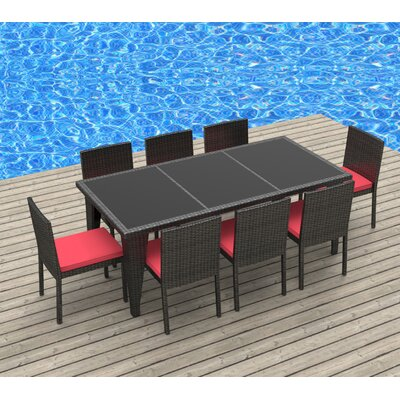 9 Piece Dining Set Fabric: Coral Red, Frame Finish: Gray