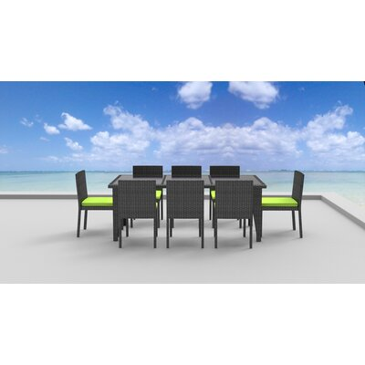 9 Piece Dining Set Fabric: Lime Green, Frame Finish: Gray