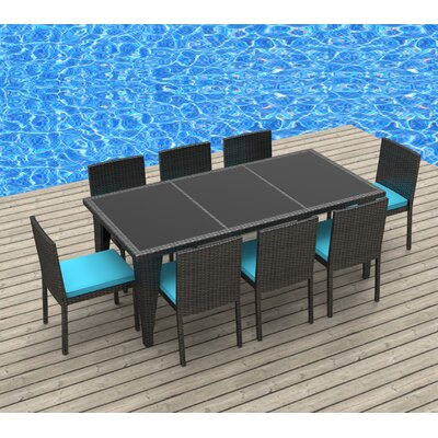 9 Piece Dining Set Fabric: Sea Blue, Frame Finish: Gray