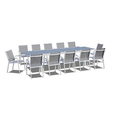 Extendable 13 Piece Dining Set Finish: Gray/White