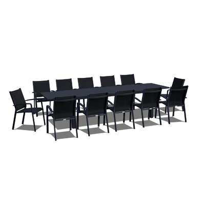 Extendable 13 Piece Dining Set Finish: Black