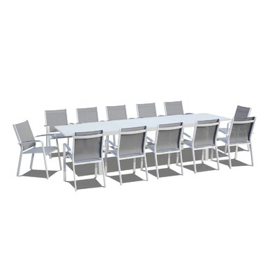Extendable 13 Piece Dining Set Finish: White