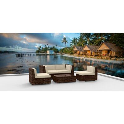 5 Piece Sectional Set With Cushions Fabric: Beige, Frame Color: Brown