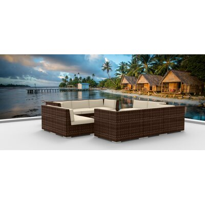 11 Piece Sectional Set With Cushions Fabric: Beige, Frame Color: Brown
