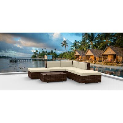 Dana 6 Piece Deep Seating Group with Cushion Fabric: Beige, Frame Finish: Brown